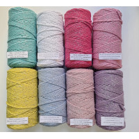 4 mm cotton cord with silver lurex