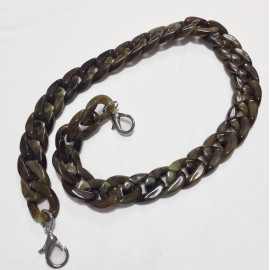 Acrylic chain with carabiners, brown, 60 cm