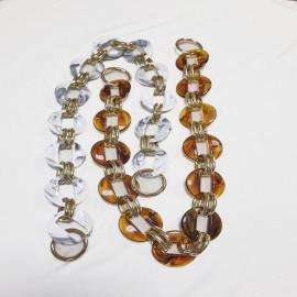 Acrylic plastic + metal chain, with carabiners, 60 cm