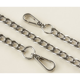 The chain is large, metal, 120 cm