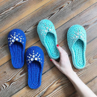 Set for knitting women's slippers up to size 40